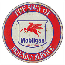 Extra Large Reproduction Mobilgas Friendly Service Motor Oil Sign 24 - $79.20