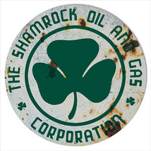 Extra Large Aged Shamrock Corporation Oil And Gas Sign 24 Round - $79.20