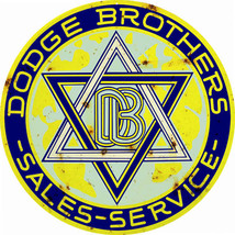 Reproduction Yellow Dodge Brothers Service Sign 18 Round - $44.50