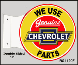 Retro We Use Genuine Chevrolet Double Sided Flange Motor Oil Sign - $52.47