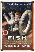 To Skid Or Not to Skid Nostalgic Fisk Tire Advertisement Reproduction - $23.76