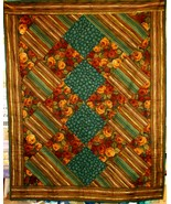 Fall Brown Floral On Point Quilt - $20.00
