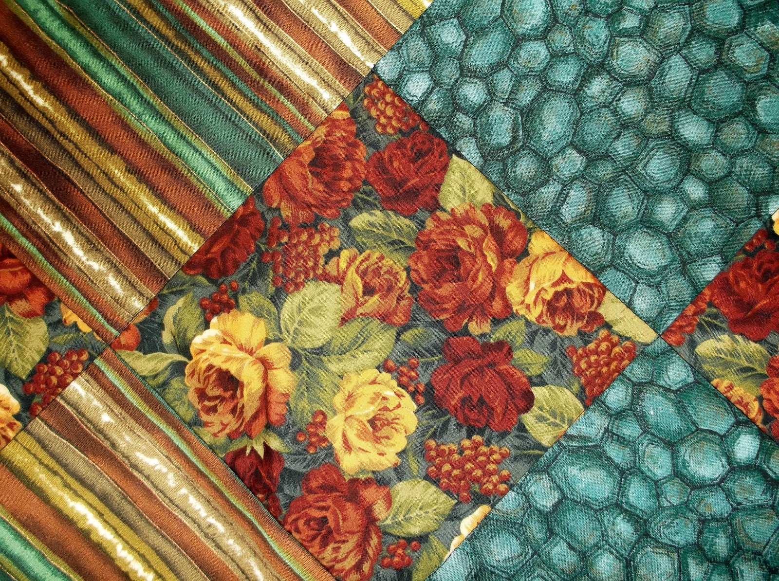 Fall Brown Floral On Point Quilt