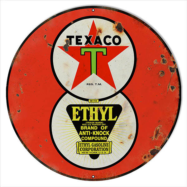 Primary image for Large Reproduction Red Ethyl Texaco Motor Oil Sign 18 Round