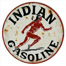 Extra Large Aged Looking Indian Gasoline Motor Oil Sign 24 Round - $79.20