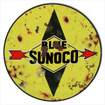 Reproduction Blue Sunoco Motor Oil Sign 24 Round - $79.20