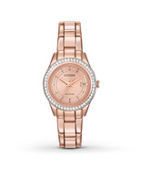 Citizen FE1123-51Q Lady's Swarovski Crystal Rose Gold Dial Watch - $209.14