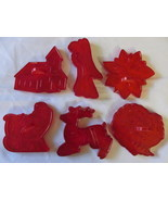 Vintage Red Plastic Christmas Cookie Cutters-Santa in Sleigh, Angel, Tur... - €9,92 EUR
