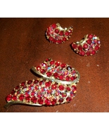 Gorgeous Vintage Lisner Ruby-Red & Aurora Brooch/Pin and Clip-on Earrings - $34.00