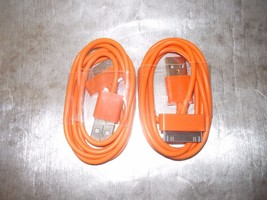 2 Orange APPLE  USB Sync Data Charger Cord Cable for iPhone 4S 4 3 & iPo... - $2.99