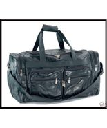 "23-1/2"" Black Buffalo Leather Tote Duffle Carry on Gym Sports Bag Luggage - $28.79"