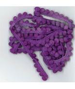 Vam-Purple Pom Pom trim 1 yard hand-dyed cross stitch Dames of the Needle - $2.80
