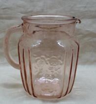 Vintage ANCHOR HOCKING Open Rose Mayfair Design 36 oz. Pink Glass Pitcher - $18.00