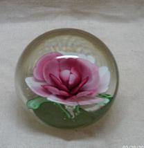 Vintage Art Glass Encased Porcelain Rose Paperweight //Vintage Rose Paperweight  - $12.00