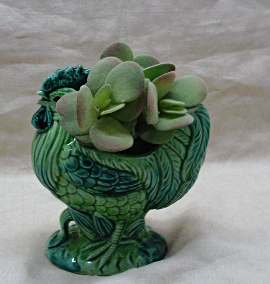 Vintage Green ROOSTER Planter // Figural CHICKEN Planter