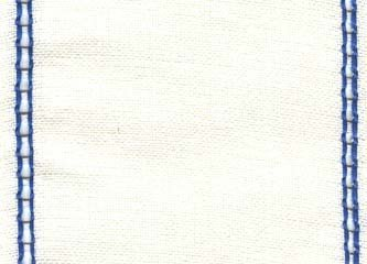 "Primary image for 27ct Celeste Antique White/Royal Blue banding 4.7""w x 18"" 100% linen Mill Hill"