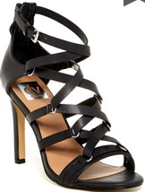Dolce Vita NEW Black Strappy Leather High Heel Sandal with Zip-up Back 8... - £13.63 GBP