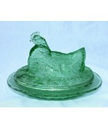 New Green Glass Hen on Nest with Chicks in Basket Retro Depression Style - $24.00