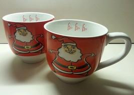 Gibson Santa Round Mug Pair Ho Ho Ho Red Christmas - $20.00
