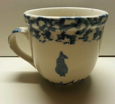 Folk Craft Heart Mug Blue Sponge Tienshan Fruit Pear - $9.00