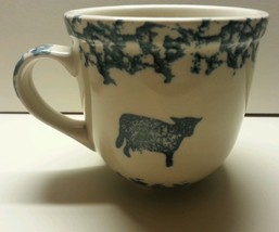 Folk Craft Cow Mug Blue Sponge Tienshan Farm An... - $9.00