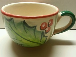Italy Holly Pottery Cup Large Mug Green Christmas Holiday - $13.50