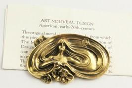 VINTAGE ESTATE Jewelry ART NOUVEAU LADY PENDNT BROOCH WITH PAPER PRISTINE - $65.00
