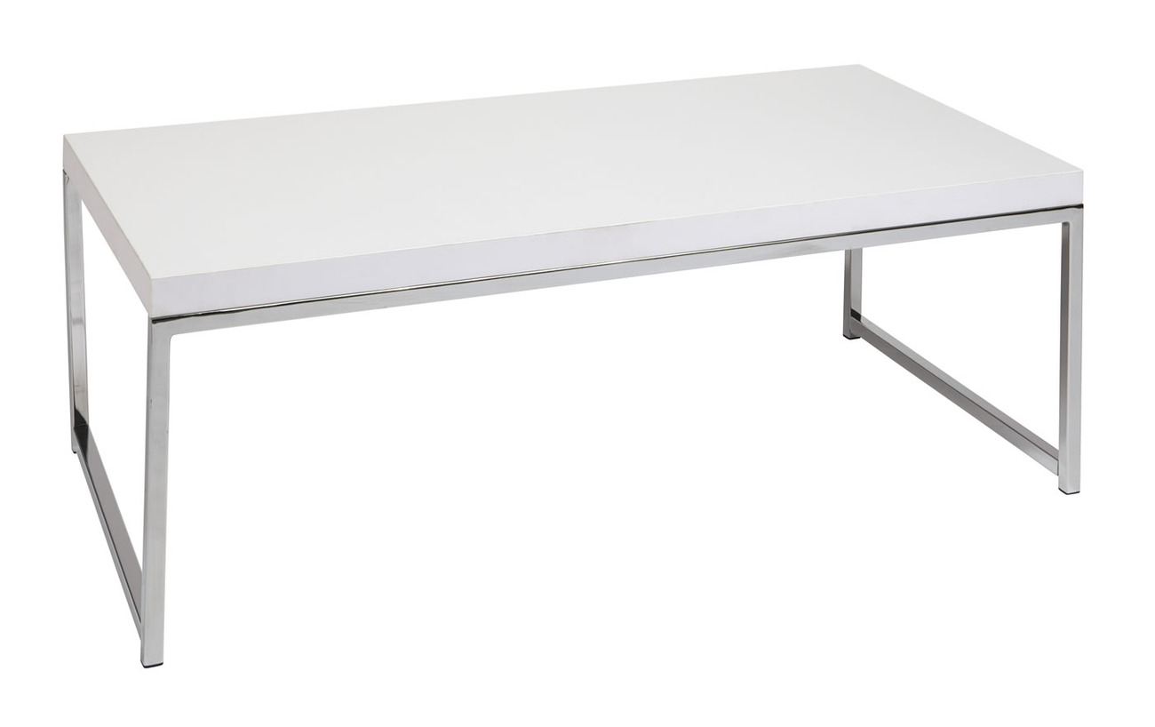 Wall Street Avenue Six White Top Square Chrome Legs Coffee Table Wst12 Wh Tables
