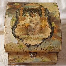 Antique Victorian Celluloid Dresser Collar Box Man Lady Lovers Portrait ... - $103.59