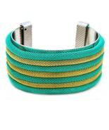 Unique High Fashion Teal&Gold Mesh Cuff Bracelet SUPER CUTE!!! must've! - $8.99