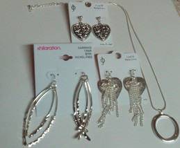 NWT Vintage 4Lot Silver Tone Heart Shape Earring&Hoop Pendant Necklace 7pieces - $35.52