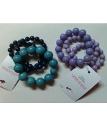 Unique Teal Blue,Two Tone Purple High Fashion Stretchable Beads Bracelet... - $12.99