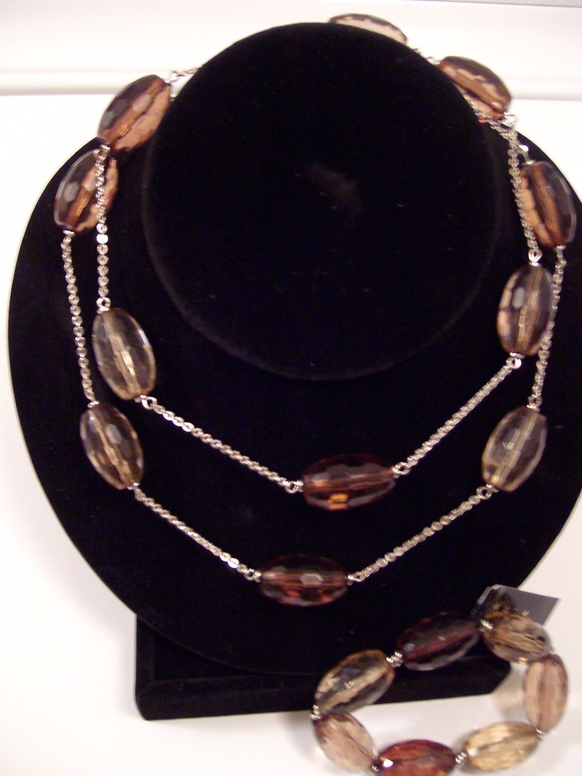 "Cookie Lee Chunky Faceted Glass 31""L Necklace&Stretch Bracelet Retail Value $100"