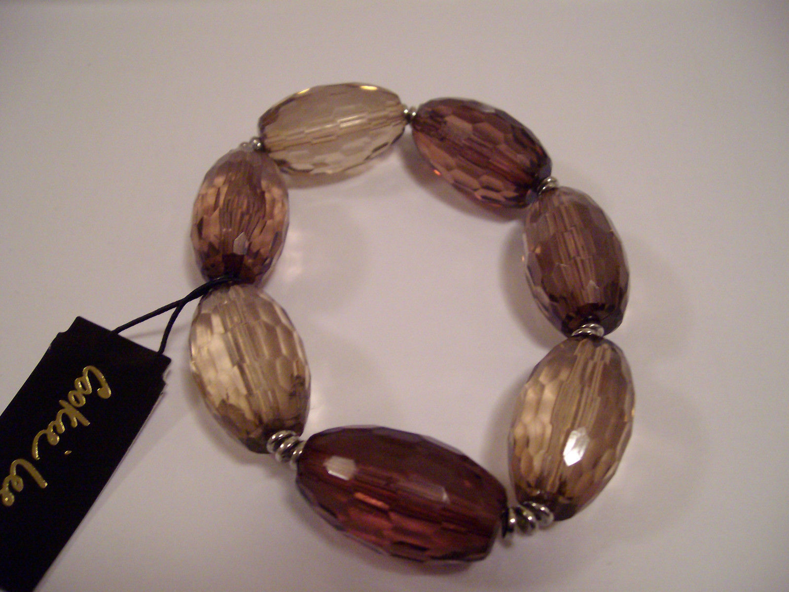 Cookie Lee Brown Faceted Glossy Huge Glass Beads Bracelet MSRP $16 SUPER CUTE!!!