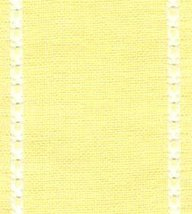 "27ct Celeste Yellow/Antique White banding 3.1""w x 18"" (1/2yd) 100% linen Mill Hi - $6.75"