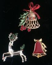 Vintage Christmas Pins 3 Bells Reindeer Rhinestone Enamel Brooches  - $31.87