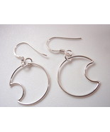 Crescent Moon Dangle Earrings 925 Sterling Silver Corona Sun Jewelry lun... - €13,48 EUR