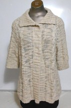 Chico's Beige  Deep Collar  Cardigan  Elbow Length Sleeve Sweater Size 1 - $11.72