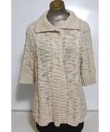 Chico's Beige  Deep Collar  Cardigan  Elbow Length Sleeve Sweater Size 1 - $15.55