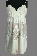 Betsey Johnson Ivory Dress Pink Lace Overlay Spaghetti Straps Adjustable Size 6 - $50.49