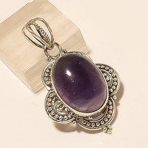 Natural Panorama Amethyst Pendant 925 Sterling Silver Bohemian Retro Jewelry New - $19.59