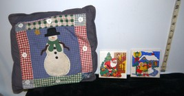 Lot of 3 Christmas Items Snowman Throw Pillow Cover & 2 Porcelain Trivet... - $7.85