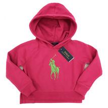 New POLO RALPH LAUREN Pink Logo Cropped Hoodie Hoody Girls Age 5 Years - $46.27