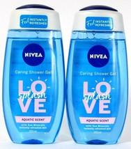 2 Bottles Nivea 8.45 Oz Love Splash Aquatic Scent Sea Minerals Caring Sh... - $16.99