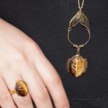 Vintage Danecraft Gold Vermeil Sterling Tigers Eye Scarab Pendant Necklace Ring  - $80.00