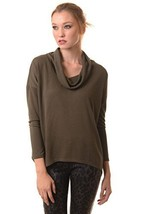 ICONOFLASH Women's Casual Long Sleeve Cowl Neck Top (Olive, Size Large) - $17.81