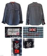 Lee Cooper East London Navy Blue Plaid Cotton Henley Shirt L - $19.99