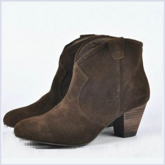 Genuine Brown Leather Suede Western Style Short Ankle Boot Slant Martin Heel