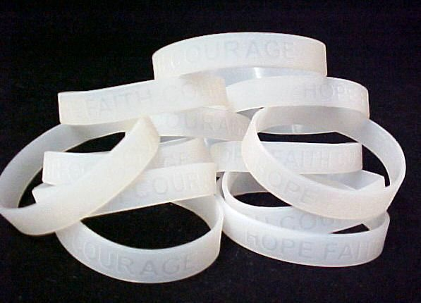 Lung Cancer Awareness Clear Translucent Silicone Bracelet 12 pc Lot Latex Free