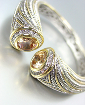 STUNNING Chunky Brown Topaz Crystals Tips Silver Cable Gold Hinged Cuff ... - €34,06 EUR